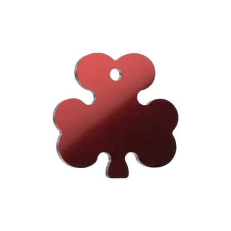 Medaglietta Personalizzata trifoglio - Medaglietta-Incisa-Basic-Trifoglio-Rosso-Lucido