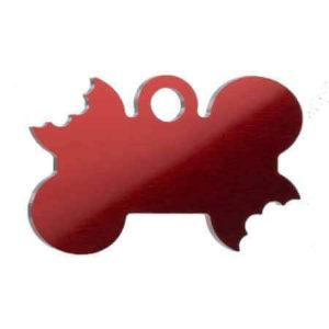 Medaglietta Personalizzata osso con morso -Medaglietta-Incisa-Funny-Osso-con-Morso-Rosso-Lucido