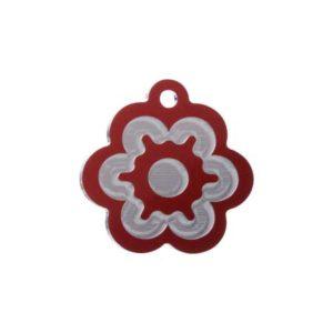 Medaglietta personalizzata a forma di fiore-Incisa-Luxury-Fiore-Rosso-Lucido
