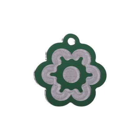 Medaglietta-Incisa-Luxury-Fiore-Verde-Lucido