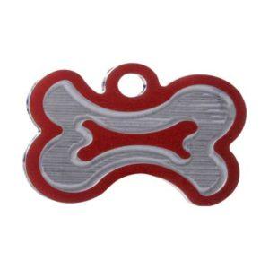 Medaglietta Personalizzata Osso Stilizzato-Incisa-Luxury-Osso-Stilizzato-Rosso-Lucido